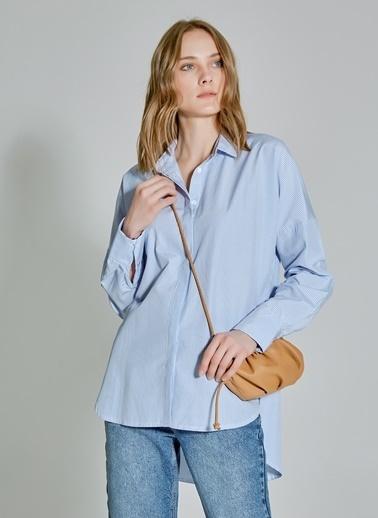 People By Fabrika Düğme Detaylı Oversize Gömlek Mavi